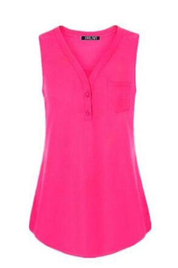 Women Tank Top V Neck Summer Vest Top Button Casual Blouse Sleeveless T Shirt hot pink