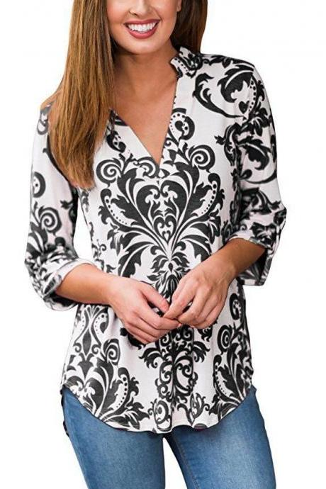 Women Floral Printed Blouse Long Sleeve V Neck Plus Size Casual Loose Tops Shirt black