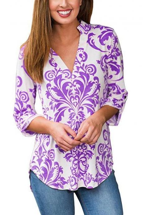 Women Floral Printed Blouse Long Sleeve V Neck Plus Size Casual Loose Tops Shirt purple