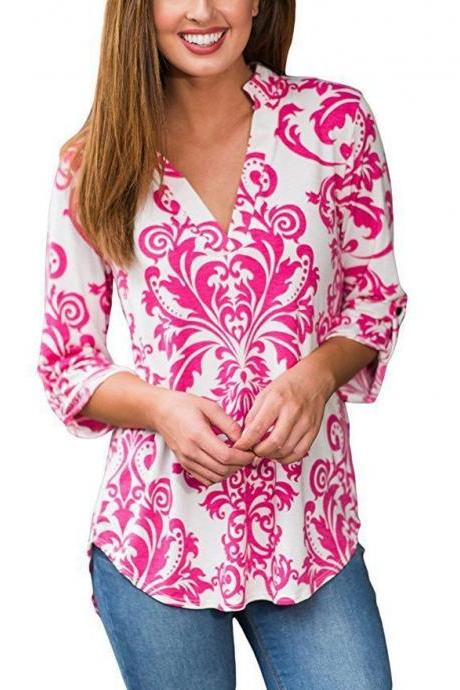 Women Floral Printed Blouse Long Sleeve V Neck Plus Size Casual Loose Tops Shirt red