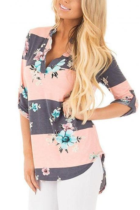 Women Floral Printed Blouse Long Sleeve V Neck Plus Size Casual Loose Tops Shirt striped