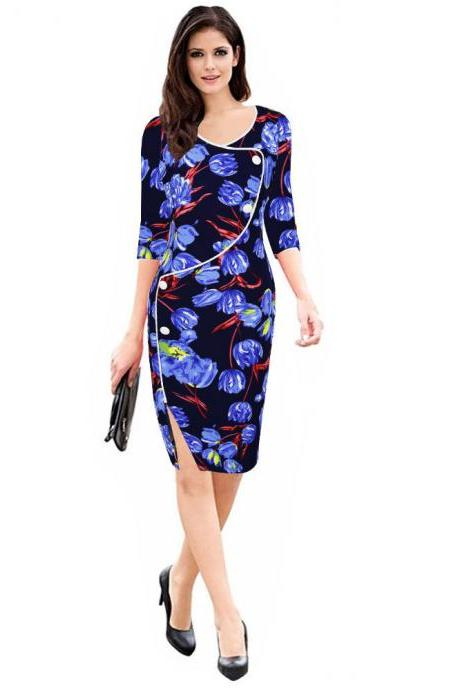 Womens Floral Printed Pencil Dress 3/4 Sleeve Button Split Business Office Bodycon Work Party Dress blue floral