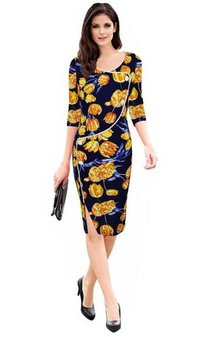 Womens Floral Printed Pencil Dress 3/4 Sleeve Button Split Business Office Bodycon Work Party Dress orange floral