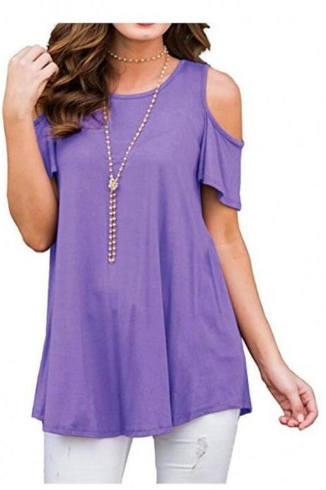 Off the Shoulder Women T-Shirt Summer Short Sleeve Loose Casual Tees Tops lilac