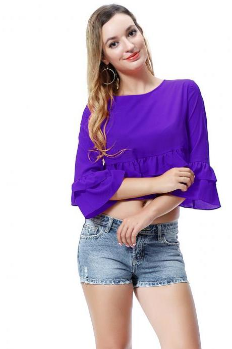 Women Crop Top 3/4 Sleeve Ruffles Summer Loose Tee Casual Streetwear T-Shirt purple