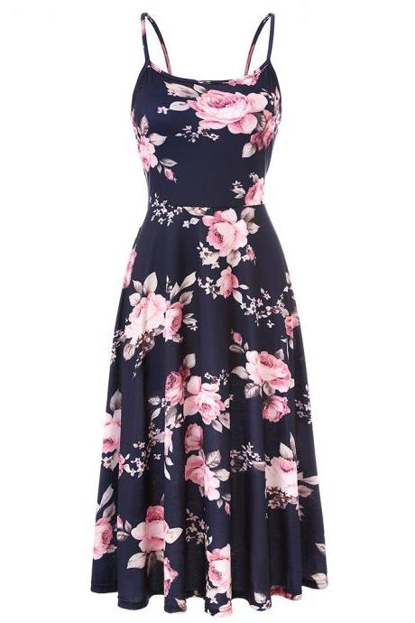 Boho Floral Printed Casual Dress Spaghetti Strap Women Summer Beach Party Dress4#