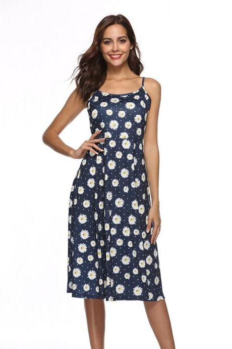Boho Floral Printed Casual Dress Spaghetti Strap Women Summer Beach Party Dress6#