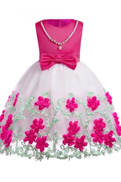 Embroidery Flower Girl Dress Pearl Formal Party Birthday Tutu Gowns Children Clothes hot pink
