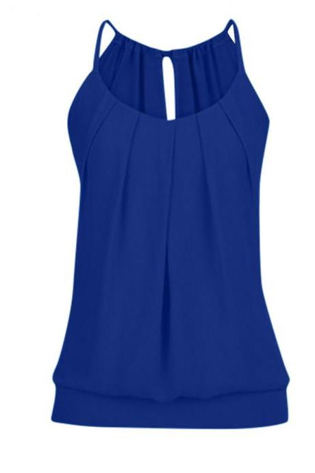 Women Tank Top Summer Casual Ruched Plus Size Loose Sleeveless T Shirts royal blue