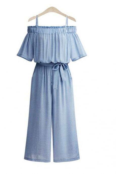 Blue Cold-Shoulder Casual Belted Wide Leg Jumpsuit with Short Sleeves