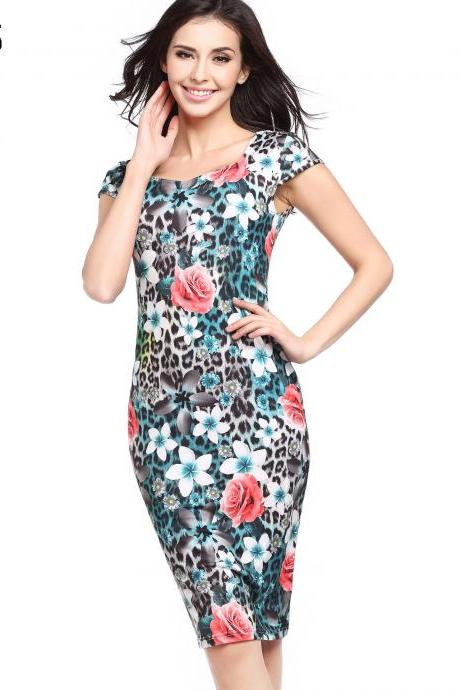 Women Pencil Dress Short Sleeve Floral/Polka Dot Bodycon Slim Work Office Party Dress 729-5