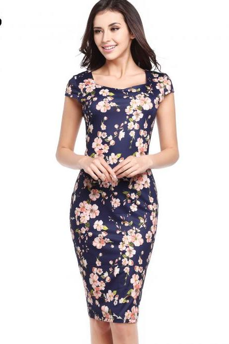Women Pencil Dress Short Sleeve Floral/Polka Dot Bodycon Slim Work Office Party Dress 729-6