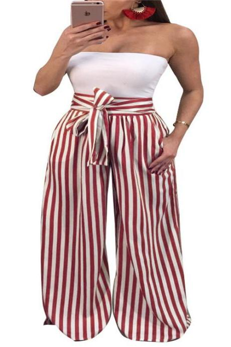 Women Striped Wide Leg Pants High Waist Casual Bow Tie Loose Long Trousers red