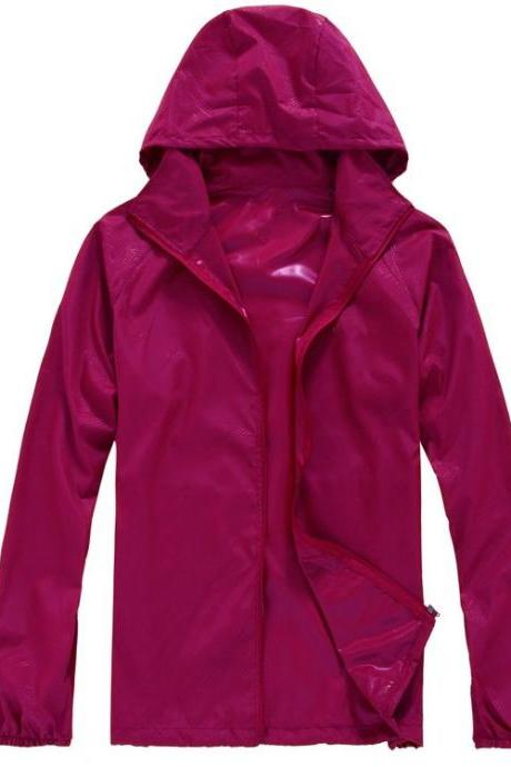 Unisex Sun Protection Clothes Outdoor UV-Proof Quick Dry Fishing Climbing Coat Women Men Hooded Jacket fuchsia