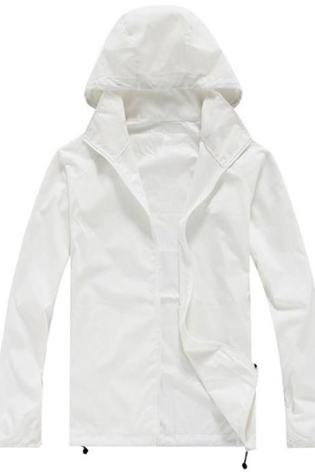 Unisex Sun Protection Clothes Outdoor UV-Proof Quick Dry Fishing Climbing Coat Women Men Hooded Jacket off white