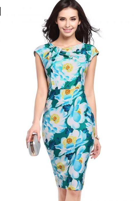 Women Floral Printed Pencil Dress Cap Sleeve Slim Bodycon Work Office Party Dress 734-1#