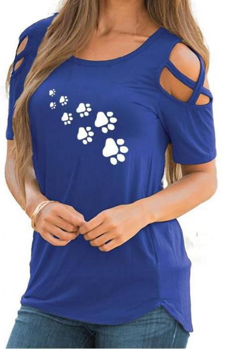 Women T-Shirt Summer Short Sleeve Casual Printed Loose Off the Shoulder Tee Tops blue footprint