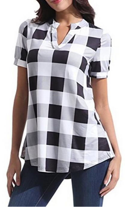 Women Plaid Blouse V Neck Short Sleeve Summer Casual Top Shirt Plus Size Loose T Shirt off white