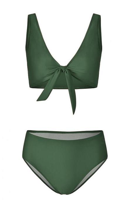 Women Bikini Set Summer Deep V Neck Bow Swimsuit Swimwear Two Piece Set Bathing Suit army green