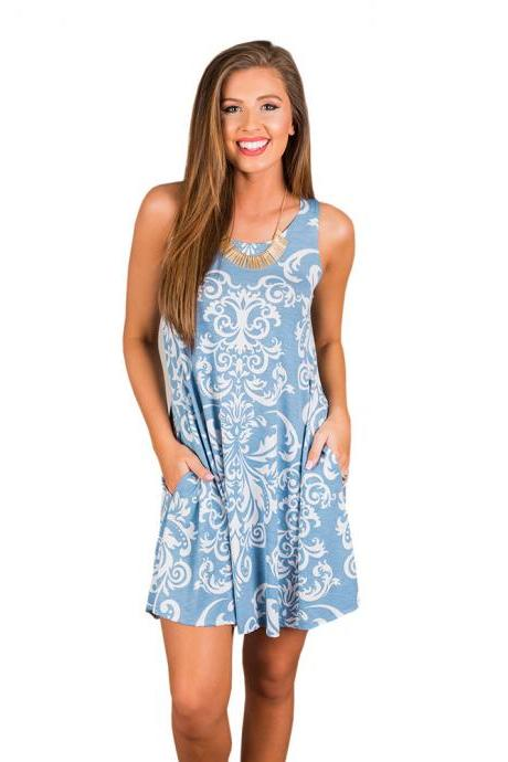 Women Casual Dress Summer Beach Sleeveless Pocket Element Printed Loose Boho Mini Dress 4#