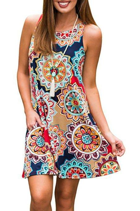 Women Casual Dress Summer Beach Sleeveless Pocket Element Printed Loose Boho Mini Dress 6#