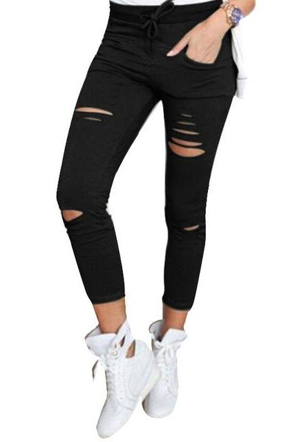 Women Pencil Pants Drawstring High Waist Ripped Holes Casual Skinny Leggings Trousers black