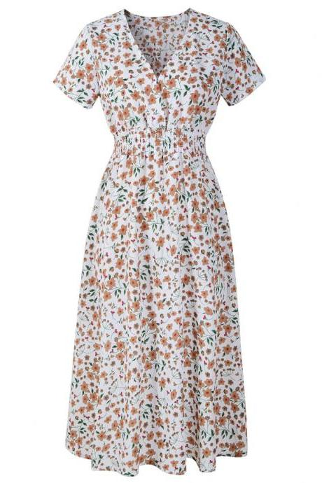 Boho Floral Printed Dress V Neck Short Sleeve Summer Beach Casual Party Dress off white