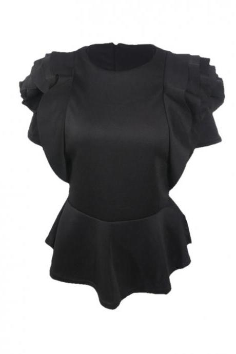 Women Casual T Shirt Summer Ruffles Short Sleeve Asymmetrical Tunic Tops Blouses black