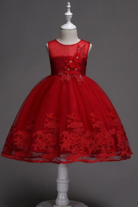 Lace Flower Girl Dress Sleeveless Princess Wedding Birthday Party Wear Kid Clothes crimson
