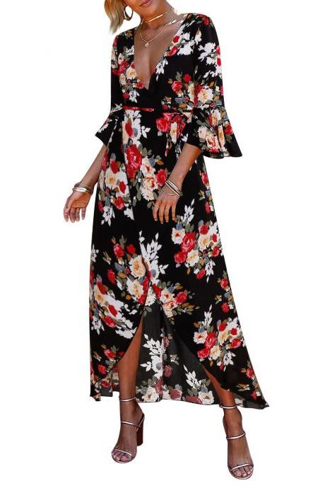 Women Floral Printed Maxi Dress V Neck 3/4 Flare Sleeve Boho Summer Beach Long Dress black+red floral