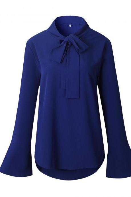 Women Chiffon Blouse Bow Tie Flare Long Sleeve Asymmetrical Hem Casual Loose Tops Shirt royal blue