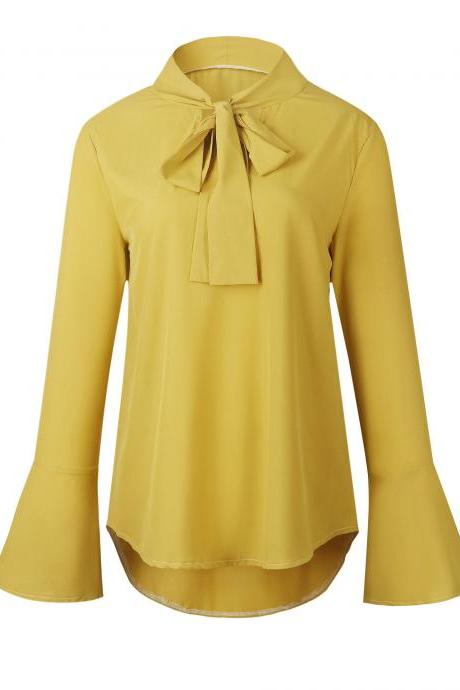 Women Chiffon Blouse Bow Tie Flare Long Sleeve Asymmetrical Hem Casual Loose Tops Shirt yellow