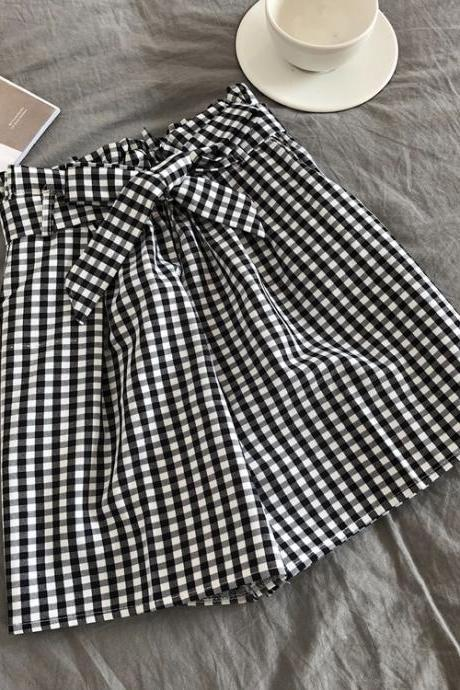 Women Casual Shorts Summer Elastic High Waist Bow Belted Streetwear Loose Wide Leg Shorts black plaid