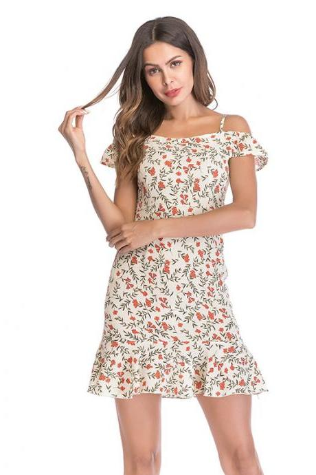 Women Floral Print Dress Summer Ruffle Off Shoulder Spaghetti Strap Casual Mini Beach Dress apricot