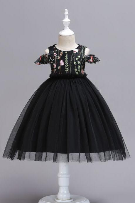 Embroidery Flower Girl Dress Off the Shoulder Wedding Birthday Party Gown Kids Clothes black