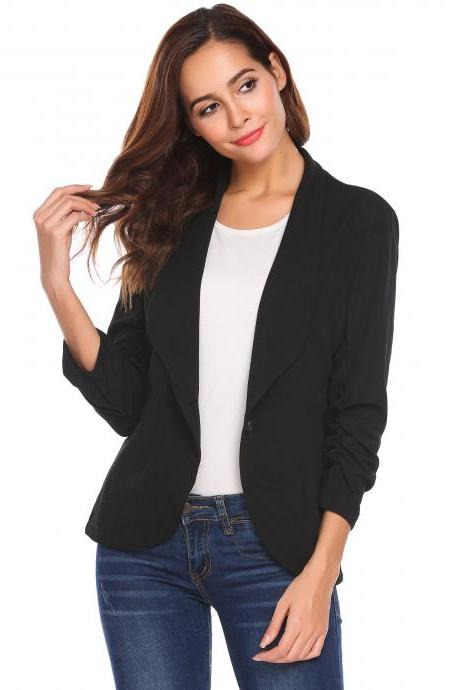Women Slim Suit Coat 3/4 Sleeve One Button Casual Office Business Blazer Jacket Outwear black