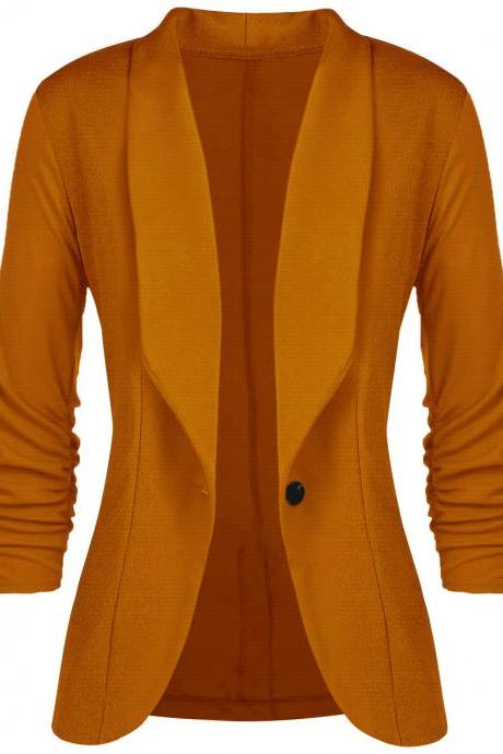 Women Slim Suit Coat 3/4 Sleeve One Button Casual Office Business Blazer Jacket Outwear earthy yellow