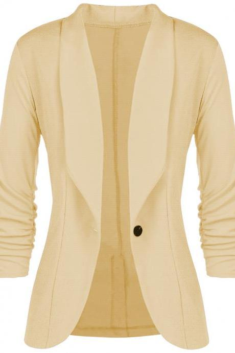 Women Slim Suit Coat 3/4 Sleeve One Button Casual Office Business Blazer Jacket Outwear pale yellow