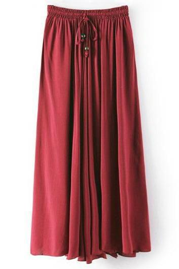 Women Maxi Skirt Summer Fashion Solid Casual Drawstring Elastic Waist Long Pleated Skirt crimson
