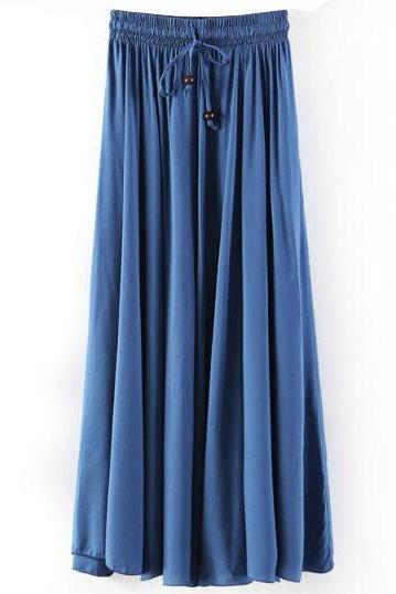 Women Maxi Skirt Summer Fashion Solid Casual Drawstring Elastic Waist Long Pleated Skirt dark blue
