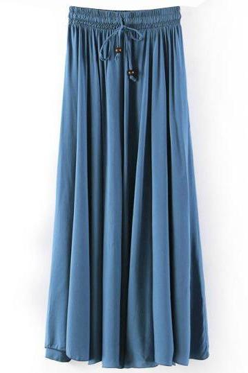 Women Maxi Skirt Summer Fashion Solid Casual Drawstring Elastic Waist Long Pleated Skirt jeans blue
