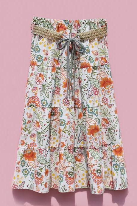 Bohemian Women Midi Skirt Summer Beach Floral Print Belted High Waist Boho Skirt 1#
