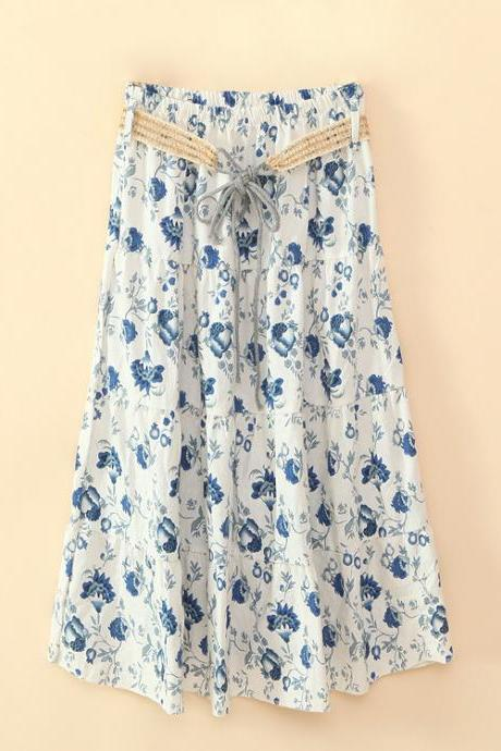 Bohemian Women Midi Skirt Summer Beach Floral Print Belted High Waist Boho Skirt 4#