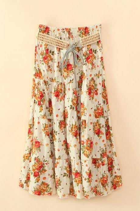 Bohemian Women Midi Skirt Summer Beach Floral Print Belted High Waist Boho Skirt 11#
