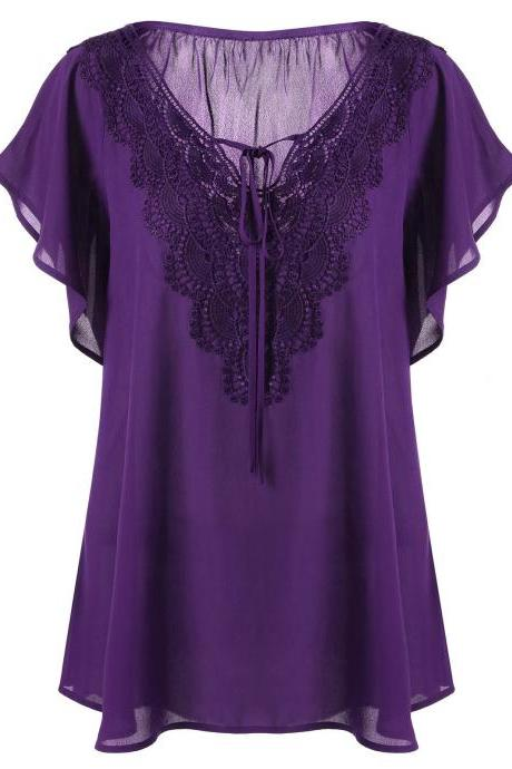 Plus Size Women T Shirt Lace Patchwork V Neck Flare Short Sleeve Summer Casual Loose Tops purple