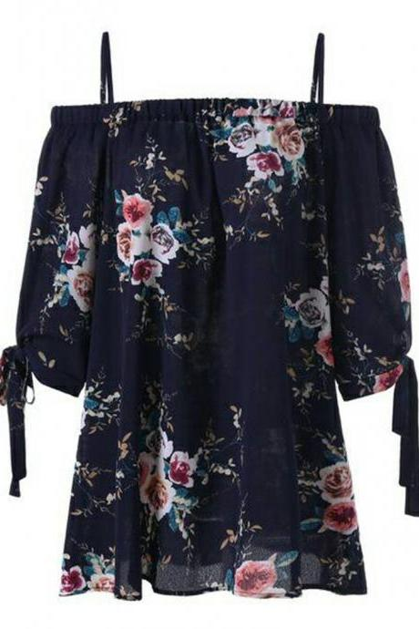 Women Off Shoulder Tops Short Sleeve Boho Summer Casual Loose Plus Size Floral Print T Shirt navy blue