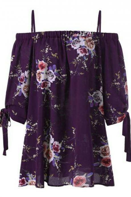 Women Off Shoulder Tops Short Sleeve Boho Summer Casual Loose Plus Size Floral Print T Shirt purple
