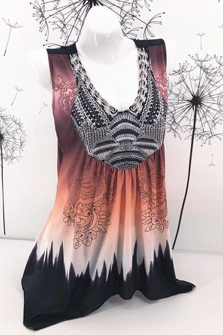 Women Floral Print Tank Top V Neck Summer Casual Loose Vest Plus Size Sleeveless T Shirt khaki