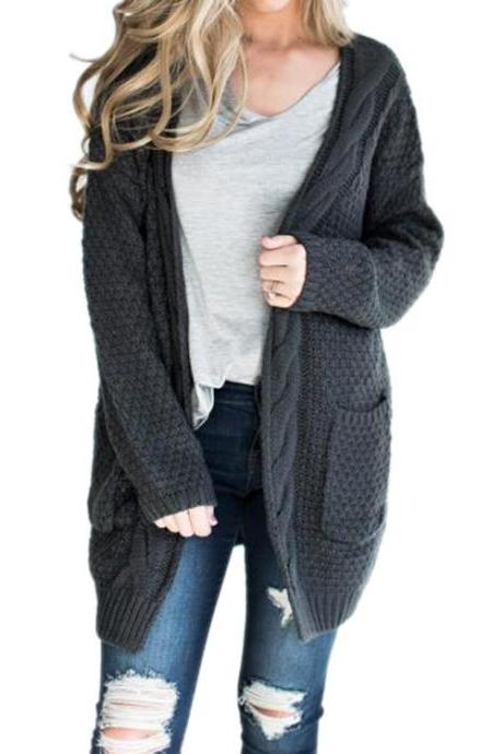 Women Long Knitted Cardigan Long Sleeve Pockets Sweater Autumn Loose Open Stitch Coat dark gray