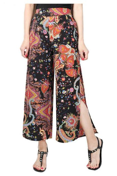 Women Floral Printed Wide Leg Pants High Waist Split Summer Beach Casual Loose Trousers 7#